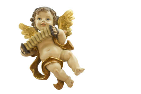 angelical: Figurine of an angel playing the accordion on a white background.