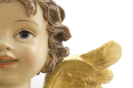 angelical: Close-up of the face of an angel Christmas on a white background. Stock Photo
