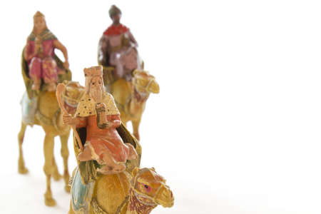 Close-up of the three wise men on a white background. Stock Photo
