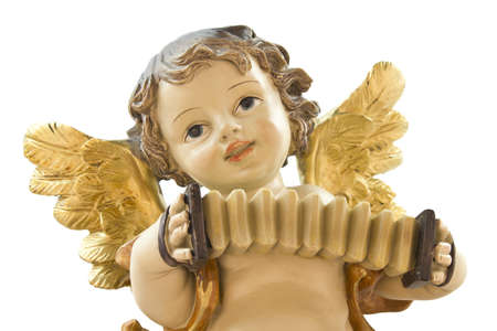 angelical: Figure of a little angel playing the accordion on a white background.