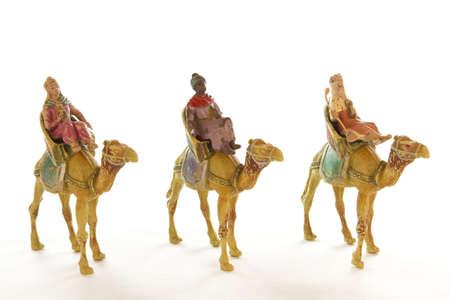 reyes magos: Imagen de los tres Reyes Magos en un fondo blanco. Foto de archivo