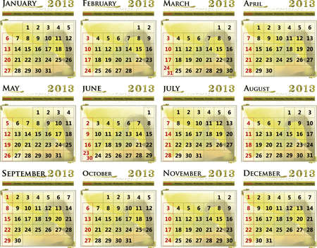 Illustration of the calendar of the year 2013 in the English language.