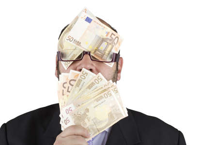 Picture of an ambitious man blinded by the money on a white background  Stock Photo