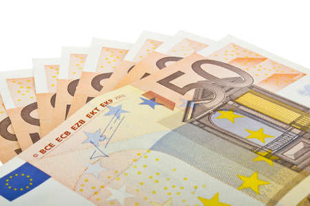 Close up of several fifty euro banknotes on a white background  Stock Photo - 16724947