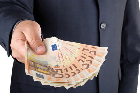 money euro: Picture of a man offering money to the viewer