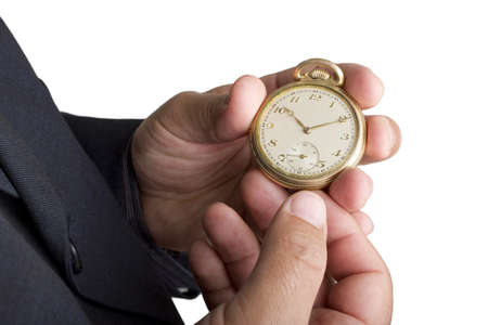 Man watching his old pocket watch on a white background.