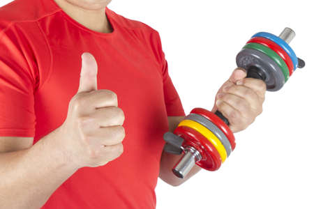 get a workout: Picture of a happy man lifting weights on a white background.