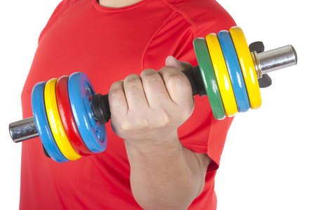 strengthen hand: Picture of a man doing weights on a white background.