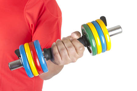 Picture of a man doing weights on a white background.