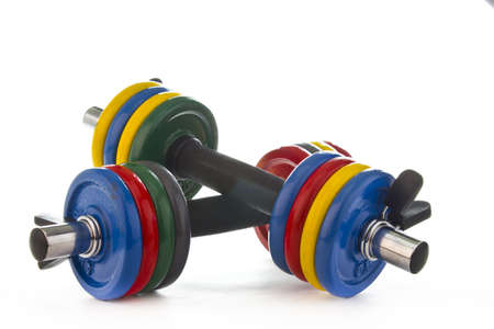 Picture of a colorful weight set on white background.