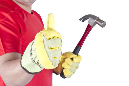 Picture of a happy worker with a hammer on a white background.