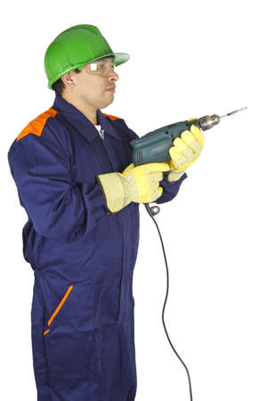 Picture of a worker holding a drill on a white background.