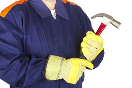 Picture of a worker taking a hammer on a white background. Stock Photo