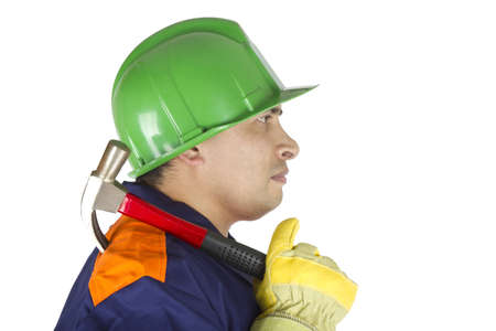 Picture of a worker with a hammer over his shoulder on a white background.