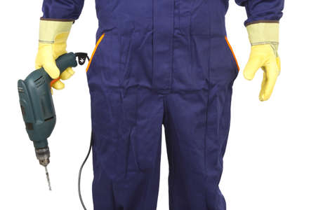 Picture of a worker with drill on a white background.