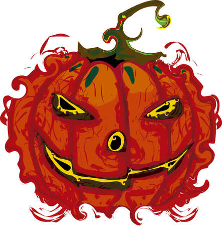 Illustration of a typical scary halloween pumpkin on a white background.