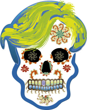 Illustration of a skull adorned typical Day of the Dead in Mexico.
