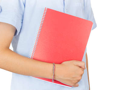 Student taking a red notebook on a white background.