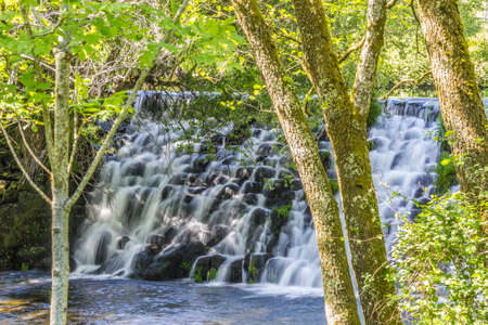 Beautiful waterfall in the trees from the river Arenteiro near the spa of Carballino in Orense, Spain. Stock Photo