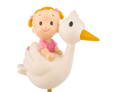 Little girl on a stork isolated on a white background.