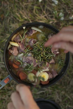 Camp cooking lamb