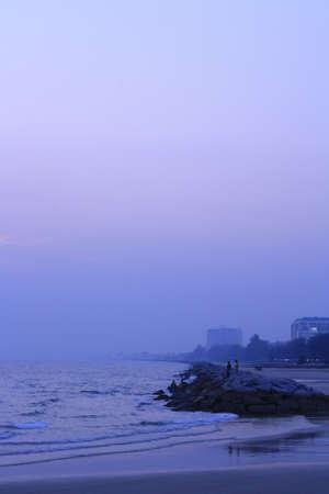 The sky after sunset at Sangjun beach Rayong Thailand