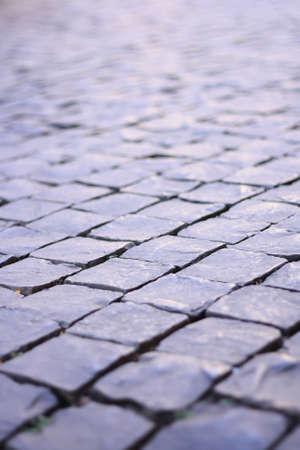 brick walkway in town Stock Photo