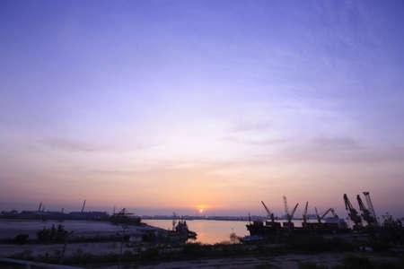 the sunrise at harbor Stock Photo - 17134184