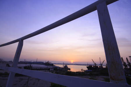 view sunrise at harbor with frame Stock Photo - 17133905