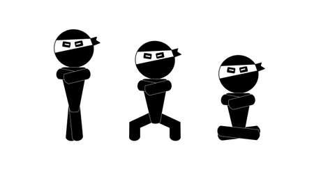 meditation man: ninja man sign meditation Illustration