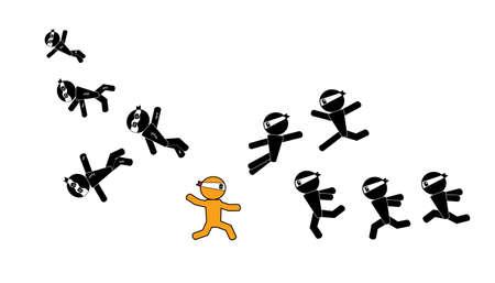 hostilities: ninja man sign warrior  Illustration