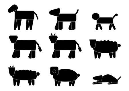 logotipo animal: nueve animales logotipo