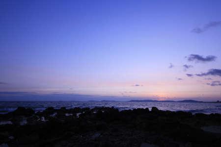 sunset at pala beach, rayong thailand