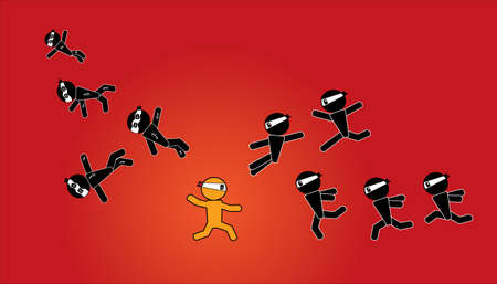 ninja man sign warrior  Illustration