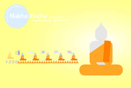 waxing: Makha bucha day Illustration