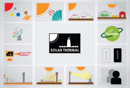 thermal power plant: 02 solar t�rmica Vectores