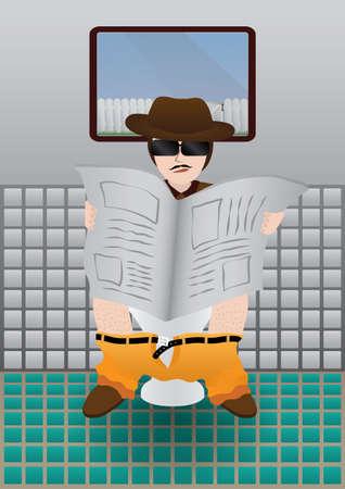 man in toilet Stock Vector - 23902401