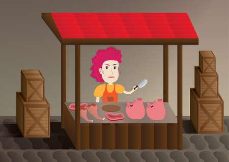 trader: female trader pig Illustration