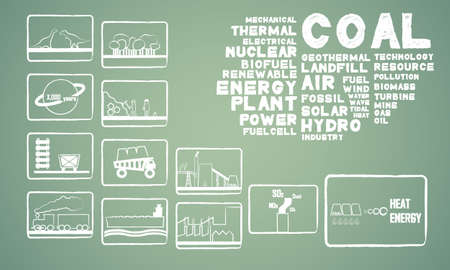 thermal power plant: carb�n energ�a Vectores