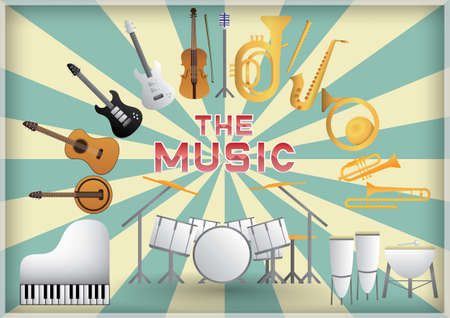 trombones: the music instrument Illustration