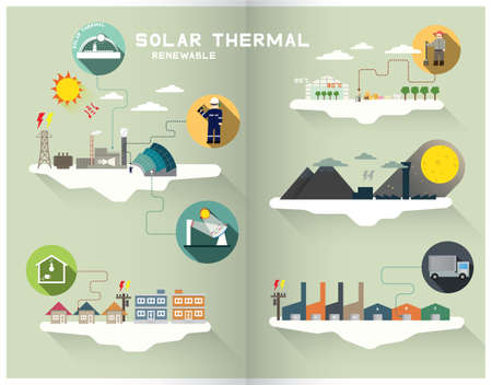 thermal power plant: gr�fico de energ�a solar t�rmica Vectores