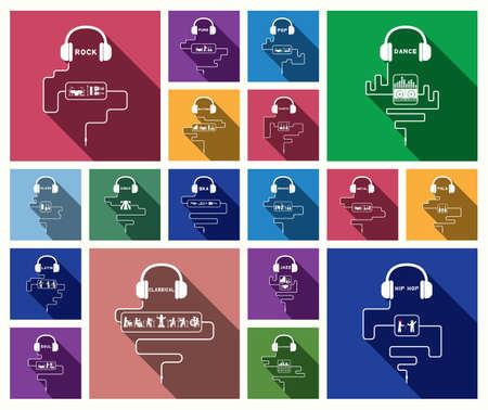 earphone music style icon Illustration