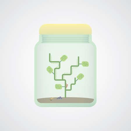 crock: abstract tree in jar Illustration