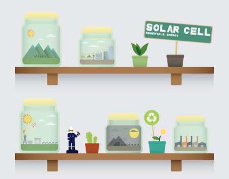 solar cell: solar cell energy in jar Illustration