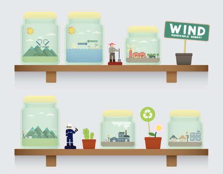 converted: wind energy in jar Illustration