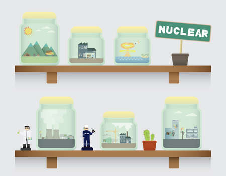 fission: nuclear in jar Illustration