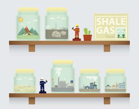 fracturing: shale gas in jar Illustration