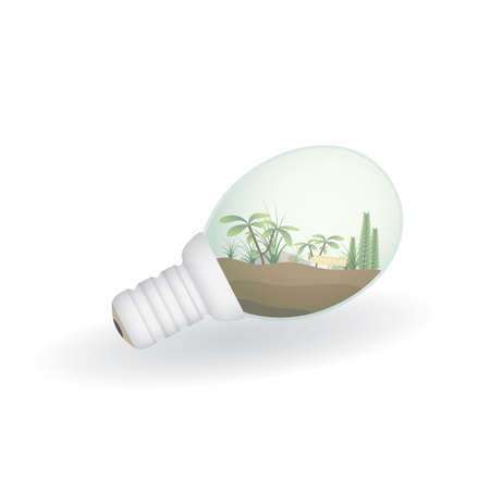 terrarium: plant in light bulb Illustration