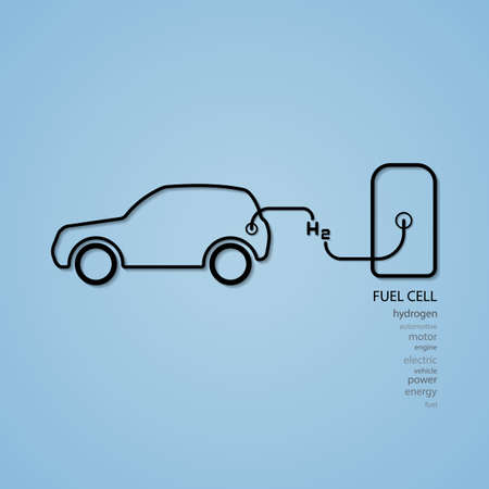 fuel cell car filling hydrogen  イラスト・ベクター素材
