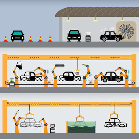 assembly line: car facory simple graphic Illustration